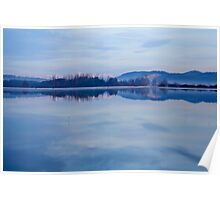 Cerknica lake at dawn with snow covered alps Poster