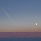 Full Moon With Contrail by Lisa Diamond