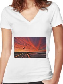 "Sunrise over the "" Bakken ""  Women's Fitted V-Neck T-Shirt"