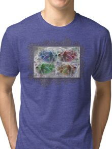 Frosted Maple Leaves in Pop Art Colours Tri-blend T-Shirt
