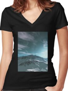 The Mountains of Sirius Beta Women's Fitted V-Neck T-Shirt