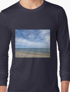 Sandy ocean beach under pretty blue sky Long Sleeve T-Shirt