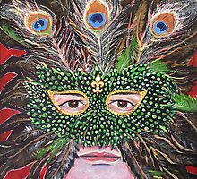 'Self-Portrait in Mardis Gras Mask by Jerry Kirk