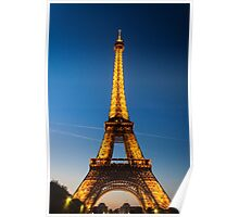Eiffel Tower and sunset Poster