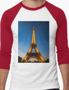 Eiffel Tower and sunset Men's Baseball ¾ T-Shirt