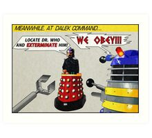 Davros and Dalek Comic Panel Art Print