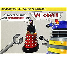 Davros and Dalek Comic Panel Photographic Print