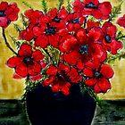 Red Anemones  by Angela Gannicott