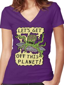 Alien UFO Escape Women's Fitted V-Neck T-Shirt
