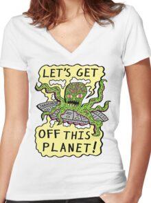 Alien UFO Escape Women's Fitted V-Neck T-Shirt