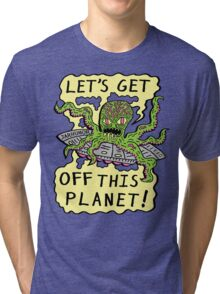Alien UFO Escape Tri-blend T-Shirt