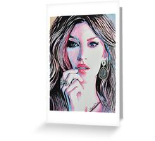 Gisele Bündchen in watercolor painting Greeting Card