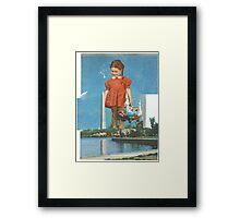 The Giant Girl in Red Contemplates What History Means to Her Framed Print