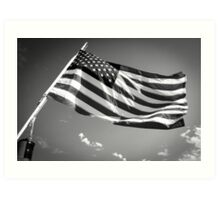 American Flag in Black and White Art Print