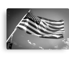 American Flag in Black and White Metal Print