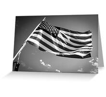 American Flag in Black and White Greeting Card