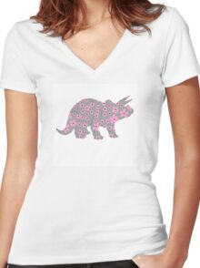 Triceratops Dinosaur Pink Gray Flowers Women's Fitted V-Neck T-Shirt