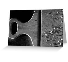Cutting Board With Bread Crumbs Black and White Greeting Card