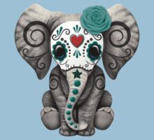 Teal Blue Day of the Dead Sugar Skull Baby Elephant Kids Tee