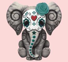 Teal Blue Day of the Dead Sugar Skull Baby Elephant Baby Tee