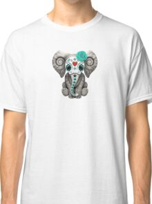 Teal Blue Day of the Dead Sugar Skull Baby Elephant Classic T-Shirt