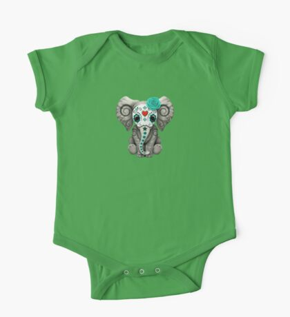 Teal Blue Day of the Dead Sugar Skull Baby Elephant One Piece - Short Sleeve