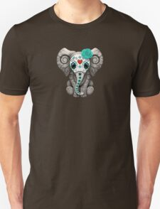 Teal Blue Day of the Dead Sugar Skull Baby Elephant Unisex T-Shirt