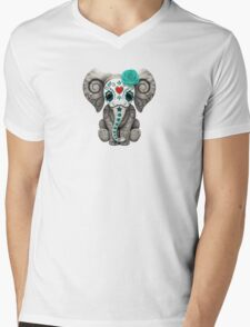 Teal Blue Day of the Dead Sugar Skull Baby Elephant Mens V-Neck T-Shirt