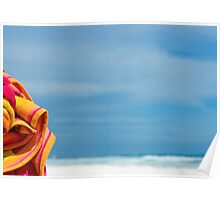 Beach Towel And Sea Poster