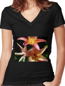 Pink and Yellow Lilies Women's Fitted V-Neck T-Shirt