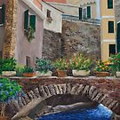 Italian Arched Bridge With Flower Pots by Charlotte  Blanchard