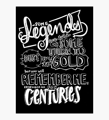"""""""Centuries"""" By Fall Out Boy Lyric Drawing Photographic Print"""