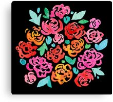 Peony & Roses on Black Canvas Print