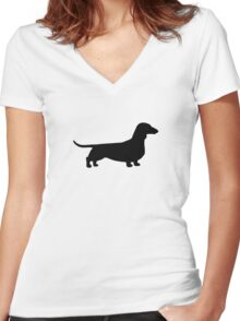 Dachshund Silhouette Women's Fitted V-Neck T-Shirt