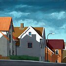 Row Houses - suburban street oil painting by LindaAppleArt