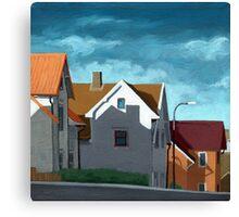 Row Houses - suburban street oil painting Canvas Print