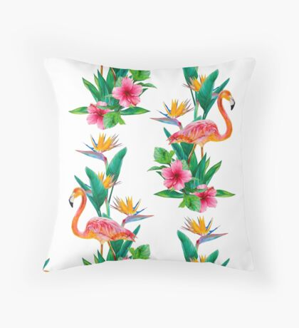 Flamingo Paradise Garden Throw Pillow