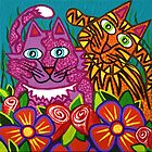 'Cracked Cats in the Garden'  by Lisa Frances Judd ~ Original Australian Art