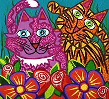 'Cracked Cats in the Garden'  by Lisa Frances Judd~QuirkyHappyArt