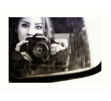 On the Road (Self Portrait in Rearview Mirror) Art Print