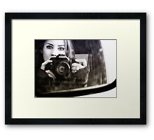 On the Road (Self Portrait in Rearview Mirror) Framed Print