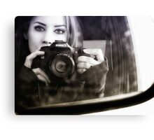 On the Road (Self Portrait in Rearview Mirror) Canvas Print