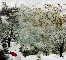 Snowy Landscape & Red Umbrella by dmcart