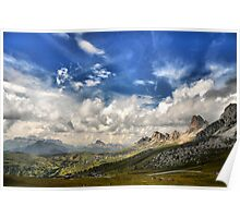 Landscape from Giau Pass (Dolomites Over Cortina d'Ampezzo) Poster