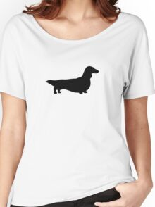 Long Haired Dachshund Silhouette Women's Relaxed Fit T-Shirt