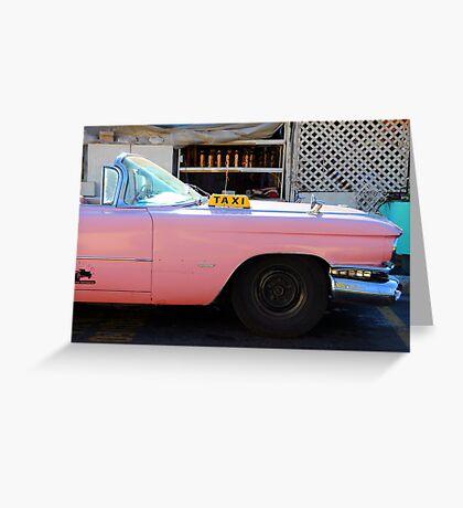 Pink Cuban Taxi Cab Greeting Card