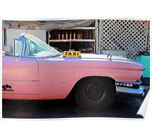 Pink Cuban Taxi Cab Poster