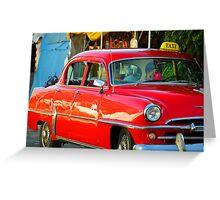Red Cuban Taxi Cab Greeting Card