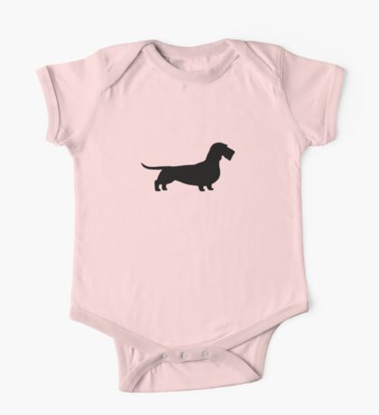 Wire Haired Dachshund Silhouette(s) One Piece - Short Sleeve