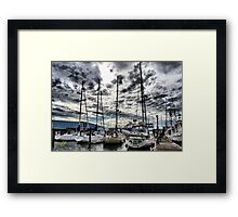 Oak Harbor Marina and Clouds Framed Print